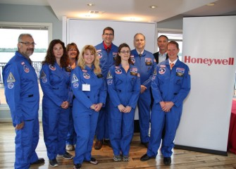 Congratulations to the Class of 2014 Honeywell Educators @ Space Academy! Pictured left to right, front row: David Cali (Lincoln MS), Carolyn Scott (Pine Grove MS), Leslie Almstead (East Syracuse Elem.), Kay Frizzell (Danforth MS) and Todd Troendle (West Genesee MS). Back row: Tammy Annicharico (Camillus MS), Christopher Ludden (C.W. Baker HS), Greg Flick (North Syracuse Jr. HS) and Honeywell Syracuse Program Director John McAuliffe.
