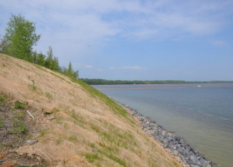 A revetment wall is built to protect this section of the western shoreline from erosion and improve habitat conditions.