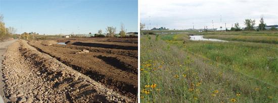Left: Nine Mile Creek during construction. Right: Nine Mile Creek after restoration.