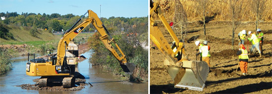 Left: During construction, crews remove material from both banks. Right: Workers plant red maples and oak trees, both native to the local forest wetland ecosystem.