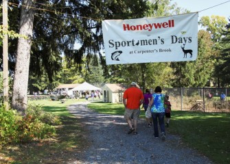 Participants arrive at Carpenter's Brook Fish Hatchery, an Onondaga County Park in Elbridge, NY, for Honeywell Sportsmen's Days at Carpenter's Brook.
