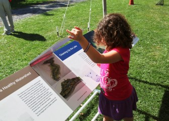 A young guest lifts the panel on a reader rail to learn more about habitat restoration at Nine Mile Creek and Geddes Brook wetlands.