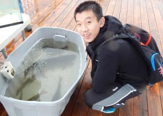 Onondaga Lake Conservation Corps member Josh Zhao enjoys observing some of the larger fish found in Onondaga Lake.