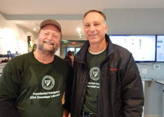 Donald Leopold, Ph.D. (left), distinguished teaching professor at SUNY-ESF and expert in biodiversity, organized the BioBlitz and also provided input to the design of the Geddes Brook and LCP wetlands, as well as the Onondaga Lake Habitat Restoration Plan.  He is seen here with Honeywell Syracuse program director John McAuliffe.
