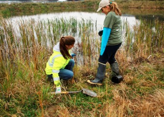 Hailey Higgins (right), with Parsons senior scientist Heather Philip, returned to Geddes Brook wetlands to install more native plants and experience firsthand the habitat development since 2012.