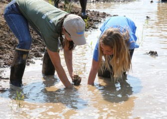 Hailey Higgins (right) was present at the inaugural event of the Onondaga Lake Conservation Corps when community volunteers got their hands dirty planting native species, becoming environmental stewards of the Onondaga Lake watershed.