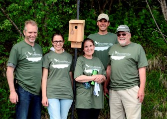 Onondaga Lake Conservation Corps volunteers (from left) Peter Haun, Nicole Schmidt, Diane Haun, Chris Lajewski, and Lawrence Keefe.