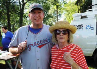 Onondaga County Parks Commissioner Bill Lansley with County Legislator Judy Tassone of Liverpool; her district includes much of the area around the lake.