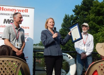 Onondaga County Executive Joanne M. Mahoney commended the innovative environmental science program to students, offering a Proclamation naming July 6, 2015 as Honeywell Summer Science Week at the MOST day.