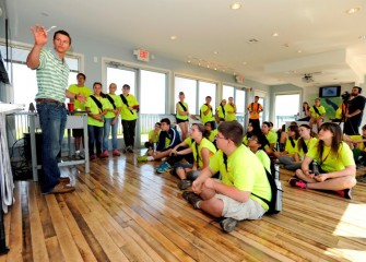 "Students visiting the Onondaga Lake Visitors Center on ""Honeywell Day"" learn about the Onondaga Lake cleanup."