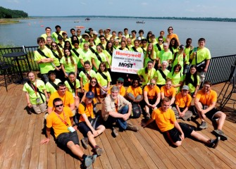 The 2015 class of Honeywell Summer Science Week at the MOST, Celebrating 10 Years, with camp leader Peter Plumley, Ph.D. (center front), Associate Professor of Engineering at Syracuse University.