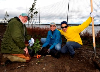 Joe McMullen, of Liverpool, Pam Wildridge, from Jamesville, and Sue Potrikus (right), North Syracuse, enjoy taking part in restoring habitat along Onondaga Lake's shoreline.