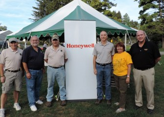 Members of the Honeywell Sportsmen's Days Planning Committee include (from left) Tom Merrill, Steve Wowelko, President of the Onondaga County Federation of Sportsmen's Clubs David Simmons, Honeywell Syracuse Program Director John McAuliffe, Nancy Canavan, and Onondaga County Parks Commissioner Bill Lansley.