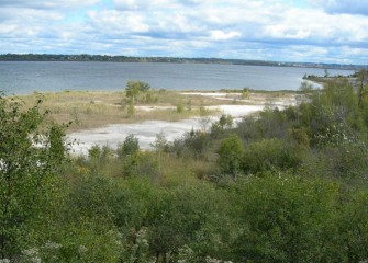 Conditions along the western shoreline of Onondaga Lake before remediation and restoration.