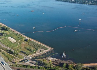 Dredging, capping, and shoreline work will continue as late as possible in fall.