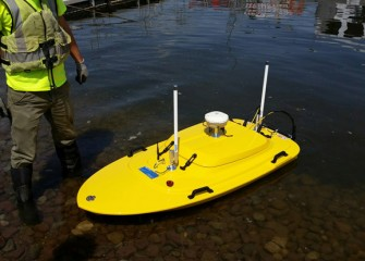 "A high tech remotely operated boat called the ""Z-boat"" is used for precise measurements of the cap."