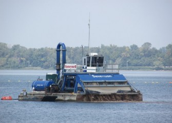 Hydraulic capping, the placement of capping material premixed with water, continues on Onondaga Lake.