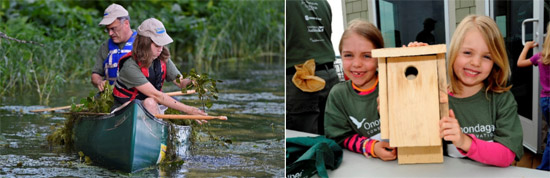 Since its formation in 2012, more than 600 community members have participated in Corps events.  Left: Corps volunteers Ross and Grace Getman, of Syracuse, remove water chestnut at an event in August 2015.  Right: Corps volunteers display a bird box at a Corps event in May 2015. The bird boxes were built and installed at the event to create shelter for birds and other wildlife.