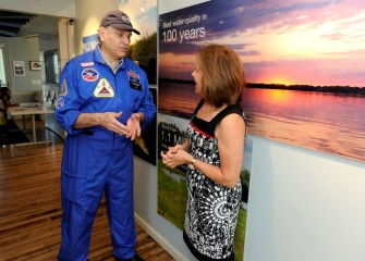 Participants gather at the Onondaga Lake Visitors Center for an event recognizing Central New York teachers joining the 2016 class of Honeywell Educators at Space Academy (HESA).