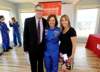 2016 Honeywell Educator Donna Erikson, from Lyncourt School, is pictured with Lyncourt Union Free School District superintendent James Austin and Lyncourt School principal Kimberly Davis (right).