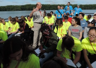 State University of New York College of Environmental Science and Forestry (SUNY-ESF) Vice Provost for Research, Neil Ringler, Ph.D., speaks to students about fish species and populations in Onondaga Lake.