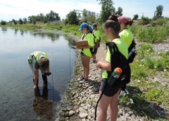 Students measure pH, water temperature and dissolved oxygen levels at the shoreline.