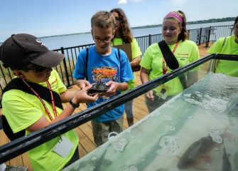 Students are able to observe fish and an Eastern Painted Turtle just caught in Onondaga Lake up close. The fish and turtle are later returned to the lake.