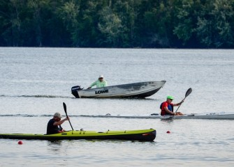 The Onondaga Cup also included races between independent kayakers and paddleboarders, in between rowing team races.