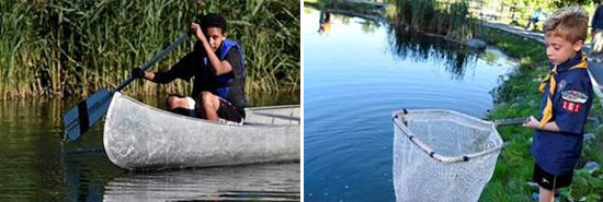 Left: 15-year-old Shawn Fletcher, of Solvay, learns to canoe.  Right: 7-year-old Sam Lootens, of Skaneateles, fishes for trout.