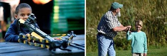 Left: Mason Wright, a 5-year-old from Syracuse, learns how to use a crossbow.  Right: Marty Ivery, a member of the Iroquois Chapter of Trout Unlimited, teaches 9-year-old Austin Ferrin, of Auburn, to fly fish.