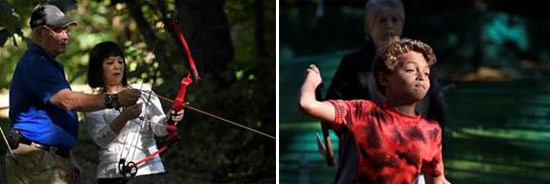 Left: Jim Kilmartin, from the Clay Sportsmen's Club, teaches Kathy Lui, of Rego Park, New York, how to use a bow and arrow.  Right: Jadin Lyle, of Syracuse, tries to hit a target with a hatchet.