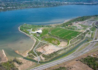 Work begins constructing wetlands near the mouth of Nine Mile Creek (lower left). The Lakeview Amphitheater is nearby.