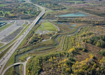 Geddes Brook Wetlands and Nine Mile Creek are hosting a wide range of wildlife species that have returned to the area. I-695 is seen on the left.