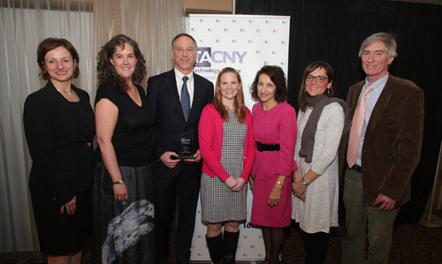 The award was presented at the TACNY Celebration of Technology Awards Banquet on March 27, in Syracuse. Pictured (left to right): TACNY President Diane Plumley, Honeywell Educators at Space Academy (HESA) alumna Becky Loy, Honeywell Syracuse Program Director John McAuliffe, HESA alumni Sara Pieklik and Sue Potrikus, 2017 HESA teacher Kate Clift, and MOST Chief Program Officer Peter Plumley.