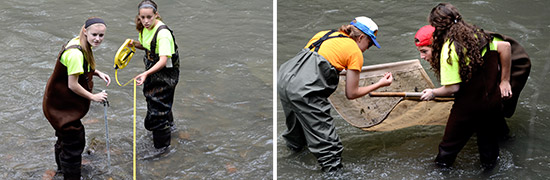 Left: Students measure the velocity of Onondaga Creek. Right: Students identify organisms in Onondaga Creek.