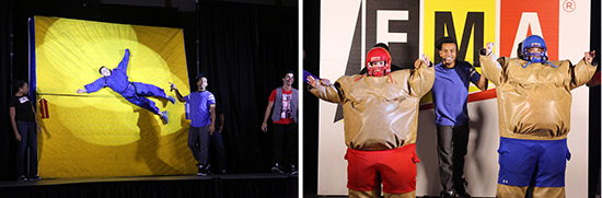Left: FMALive! demonstration teaches Newton's First Law of Motion – Inertia. Right: Teachers help teach Newton's Second Law of Motion – Force = Mass x Acceleration.