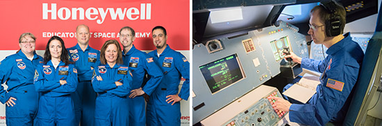 Left: Central New York teachers at Honeywell Educators at Space Academy in Huntsville, Alabama. Right: Central New York teacher Stephen Bacon at Honeywell Educators at Space Academy.