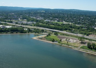 Work continues along the southwest shoreline of Onondaga Lake.