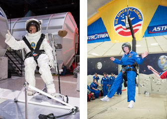 Left: Katherine Clift completes a mission at the U.S. Space & Rocket Center.  Right: Colleen O'Connor in a gravity chair.