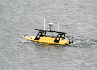 The Z-boat is a high tech remote controlled boat that uses GPS and sonar to collect data about the lake bottom.