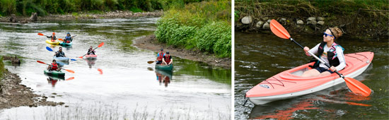Left: Participants paddled approximately 2 miles from the Nine Mile Creek canoe and kayak launch off of Airport Road in Camillus to the canoe and kayak launch off of Pumphouse Road in Geddes. Right: Michelle Woogen, of Syracuse, paddles down Nine Mile Creek.