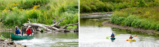 Left: Along the course, participants identified 31 bird species, including Baltimore Oriole, Caspian Tern and Belted Kingfisher, which are listed as Birds of Conservation Concern by Audubon New York. Right: Katherine (left) and 8-year-old Grant Clift, of Baldwinsville, paddle in kayaks.