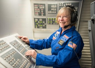 Colleen O'Connor, from Roxboro Road Middle School, during a mission at the U.S. Space & Rocket Center.