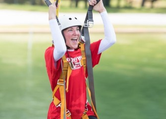 Katherine Clift, from Camillus Middle School, on the water survival zipline at the U.S. Space & Rocket Center.