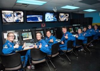 Team Kibo, including Colleen O'Connor (4th from right), during a mission. Honeywell awards scholarships to teachers to attend HESA, which provides training focused on space science and exploration.