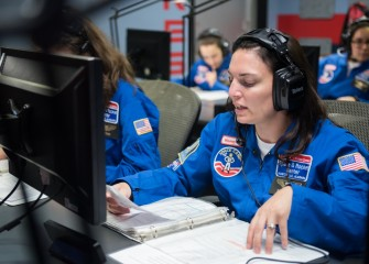 Pine Grove Middle School teacher Susanne Sobon during mission training at Honeywell Educators at Space Academy.