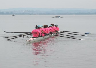 The Parsons rowing team heads out to compete for the Onondaga Cup.