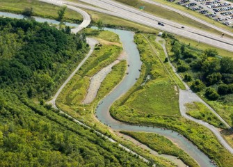 The restoration of Nine Mile Creek included 5 acres of re-created wetlands.