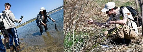 Left: 14-year-old Nolan Gryzlo, of Skaneateles, New York, monitors water quality with assistance from Young Naturalists Leadership Team member Saadiya Sheekh-Nuur. Right: Mike Serviss, Young Naturalists Leadership Team member, identifies vegetation at Geddes Brook wetlands.