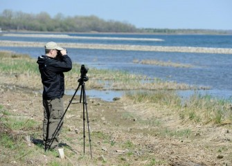 Binoculars and a spotting scope are tools used to help identify water bird species out on the lake.